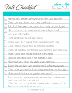 Fall Garden Checklist from the Acre Life resource library