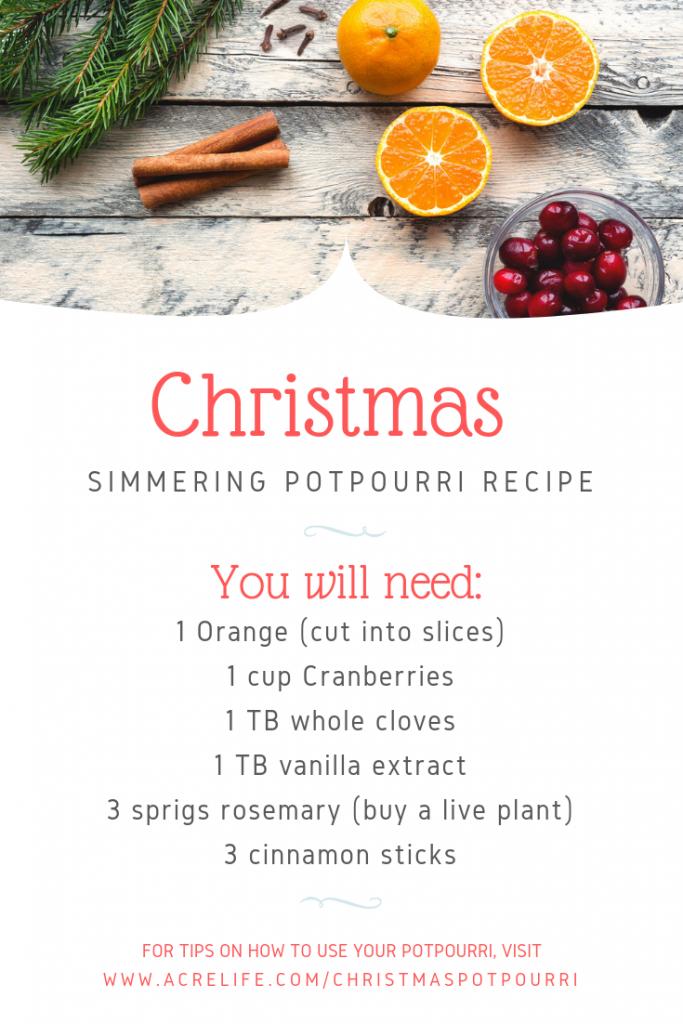 Christmas Simmering Potpourri Recipe