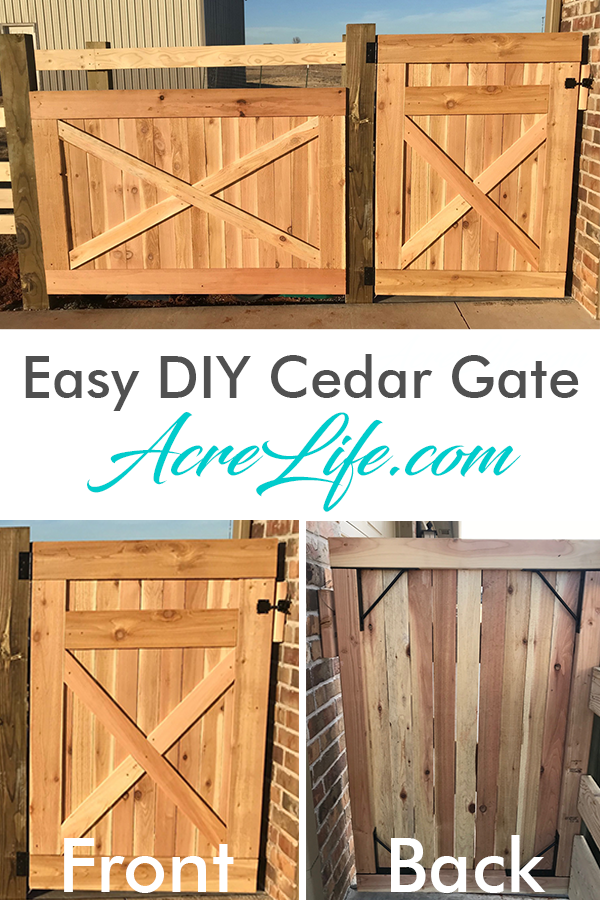 Easy DIY Cedar Gate using a hardware kit and cedar pickets.