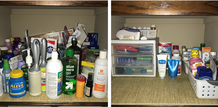 Medicine Cabinet Before and After Bathroom Decluttering