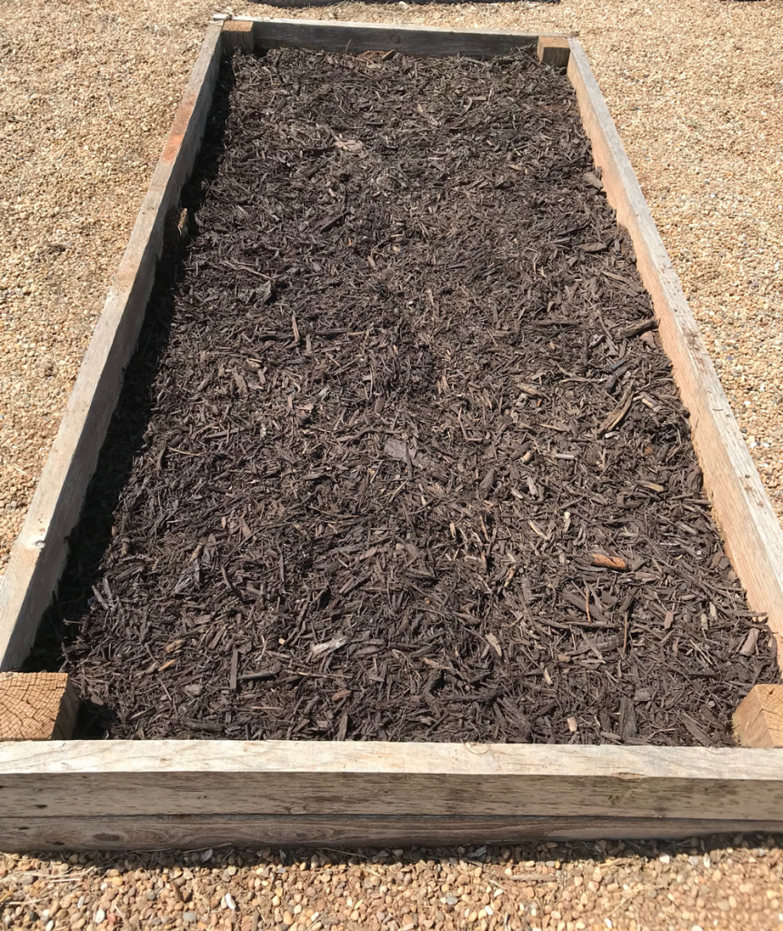 Raised bed filled with mulch to prevent weeds.