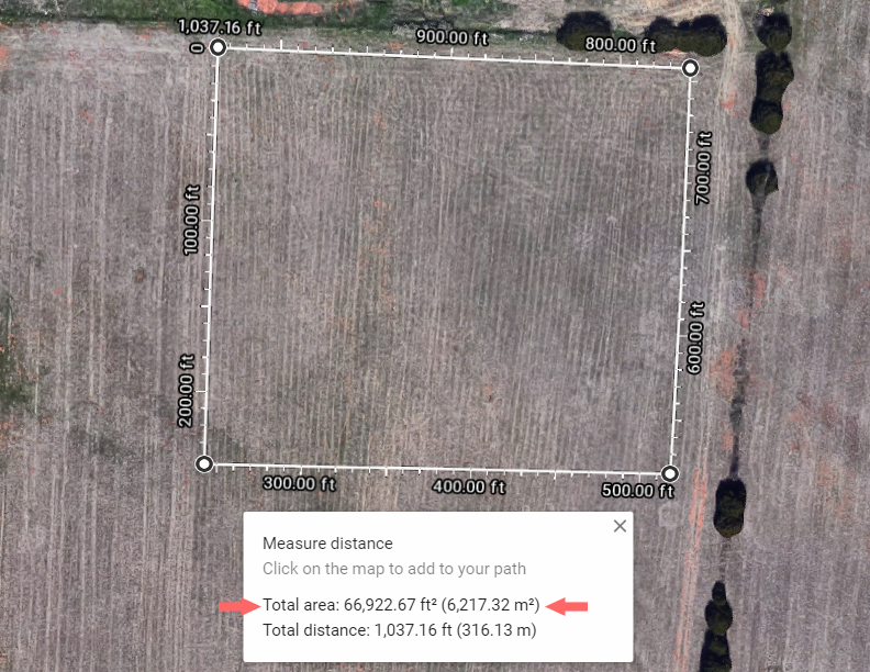 Use Google Maps to measure the planting area of your wildflowers
