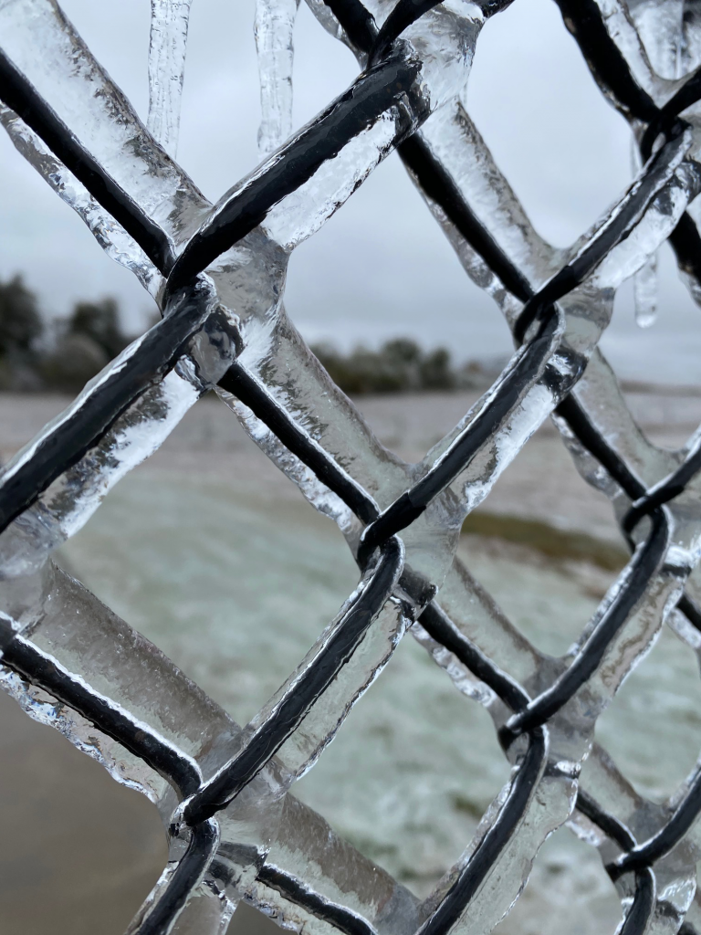 Ice on Chain Link Fence - Acre Life Power Outage