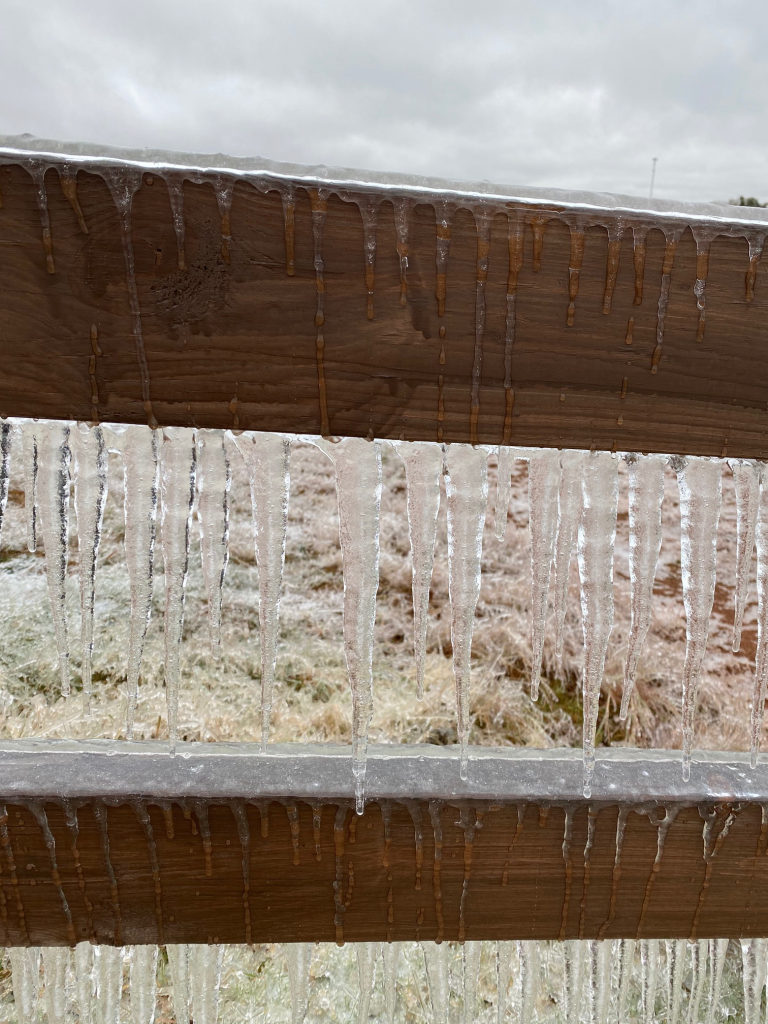Ice on Wood Fence - Acre Life Power Outage