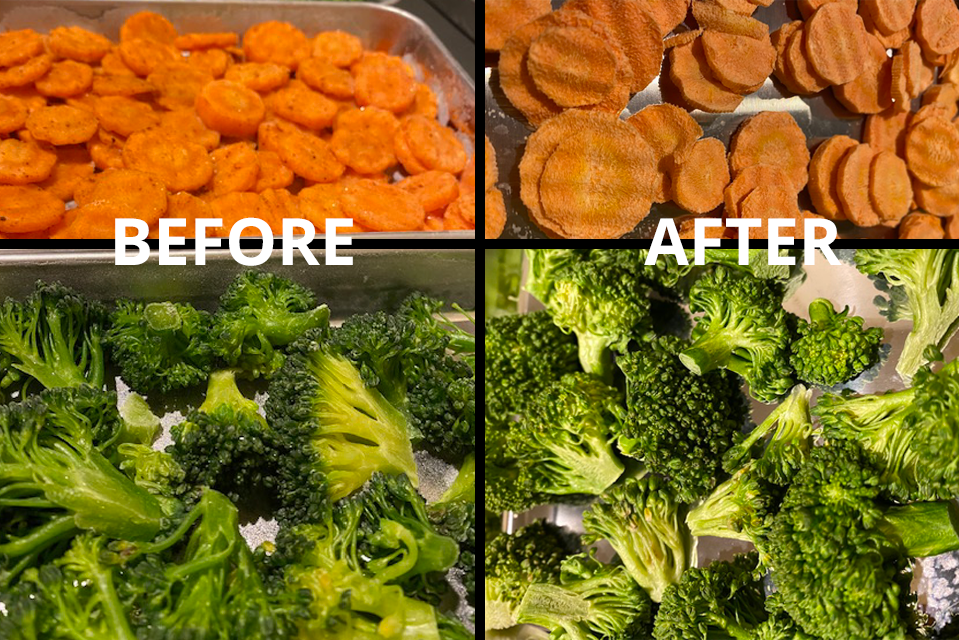Carrots and Broccoli before and after freeze drying.